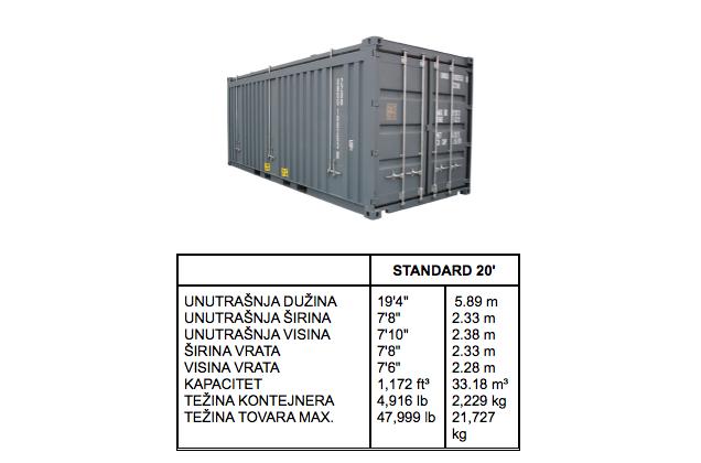 standard 20ft kontejner